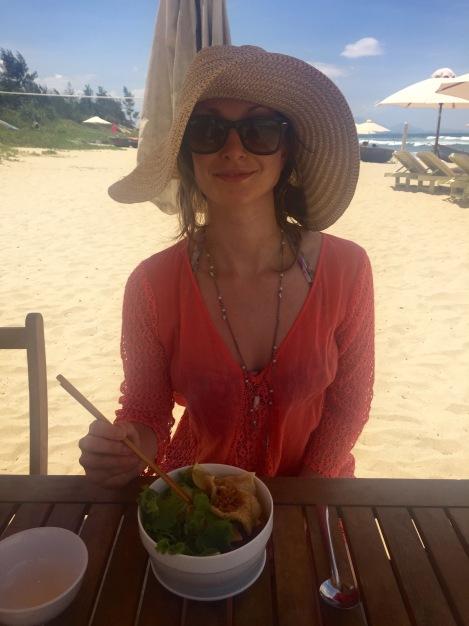 Hoi An's speciality Cau Lau noodles on the beach...
