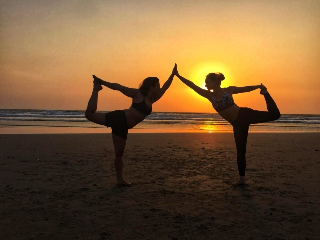 Yoga on Mandrem beach Goa